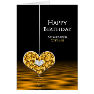 Birthday - Birthstone - November - Citrine Card