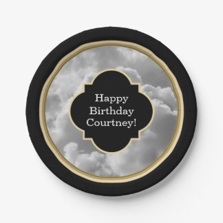 Birthday Black and White Clouds Custom Name 7 Inch Paper Plate