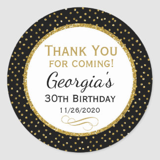 Birthday Black Gold Thank You Favor Tags