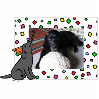 Birthday Black Labrador Cartoon Photo Frame Photo Sculpture Magnet