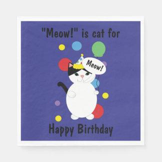 Birthday Black White Cat Meow for Happy Birthday Paper Napkins