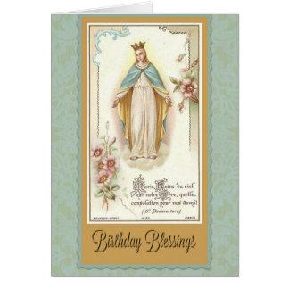 Birthday Blessings Blessed Virgin Mary Prayer Card