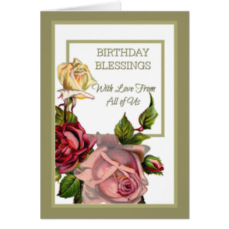 Birthday Blessings from All Pink White Red Roses Card