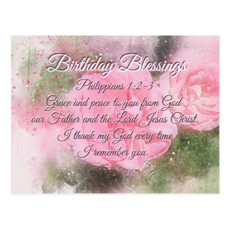 Birthday Blessings Philippians 1:2-3 Bible Verse Postcard