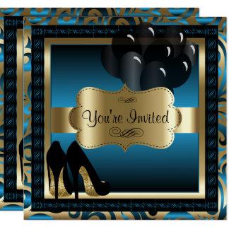 Birthday | Blue & Gold High Heels Invitation