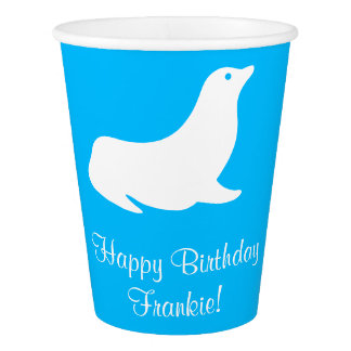 Birthday Blue Sea Lion 4Frankie Paper Cup
