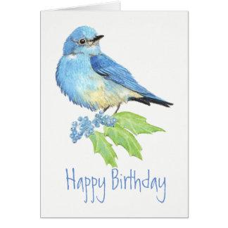 Birthday  Bluebird Watercolor Bird Collection Card