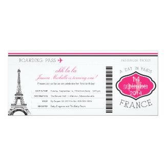 "Birthday Boarding Pass to Paris 4"" X 9.25"" Invitation Card"