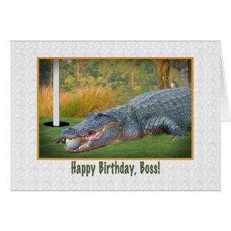 Birthday, Boss, Golf, Alligator Greeting Card