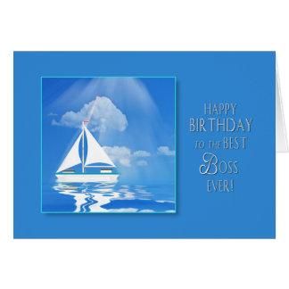 BIRTHDAY - BOSS - SAILBOAT - BLUE SEA GREETING CARD