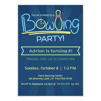 Birthday Bowling Party Card