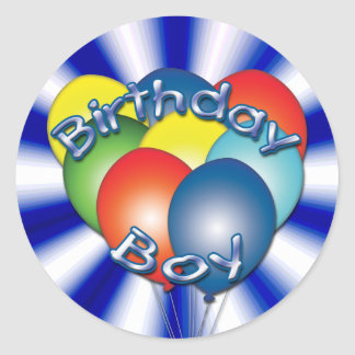 Birthday Boy Balloons Round Stickers