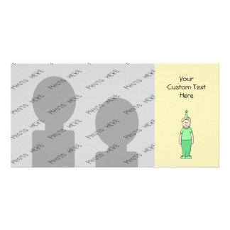 Birthday Boy Cartoon in Green. Card