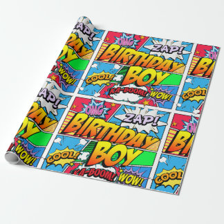 Birthday Boy Comic Book Wrapping Paper