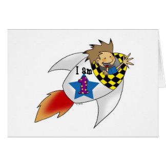 Birthday boy in a rocket card