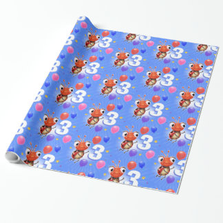 Birthday Boy or Girl age 3 Ladybug wrapping paper. Wrapping Paper