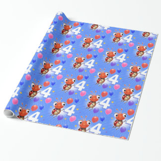 Birthday Boy or Girl age 4 Ladybug wrapping paper. Wrapping Paper