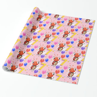 Birthday Boy or Girl age 7 Ladybug wrapping paper. Wrapping Paper