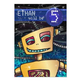 "Birthday Boy Robot Comic Book Hero Space SciFi 5"" X 7"" Invitation Card"