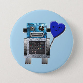 Birthday Boy Robot Party Button