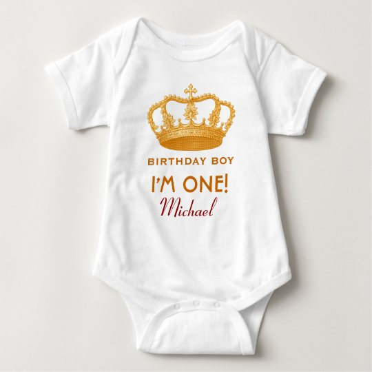 Birthday Boy Royal Prince Crown One Year Old V02 Baby Bodysuit