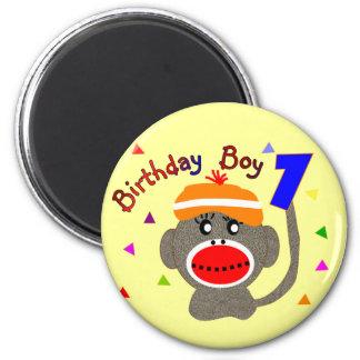 Birthday BOY Sock monkey 1 year old 2 Inch Round Magnet