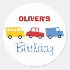 Birthday Boy Toys Colourful Cars Trains Bus Trucks Classic Round Sticker