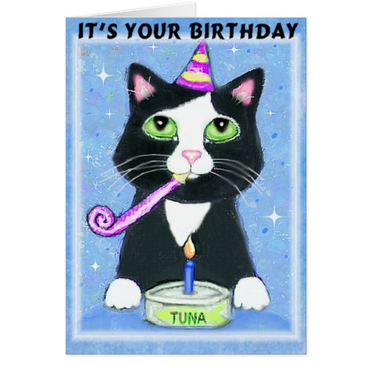 Birthday Boy With Cat Greeting Card