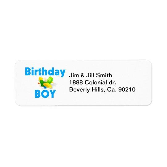 Birthday Boy With Toy Airplane Return Address Label