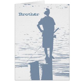 Birthday, brother, boy fishing from stump. card
