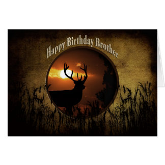 BIRTHDAY BROTHER - DEER HUNTER -sunset Card