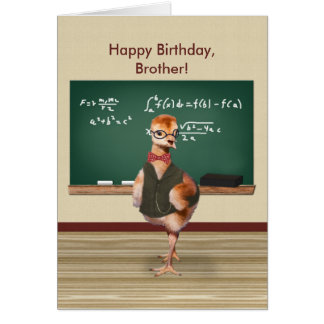 Birthday, Brother, Funny Baby Bird, Customizable Card