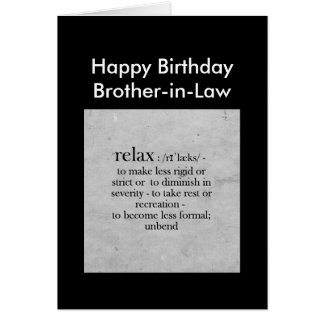 Birthday Brother-in-Law definition Relax Humor Greeting Cards