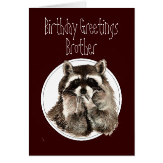Birthday Brother Over the Hill with Cute Raccoon Card