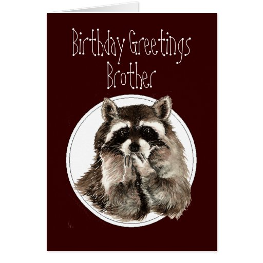 Birthday Brother Over the Hill with Cute Raccoon Greeting Card