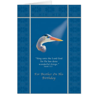Birthday,  Brother, Religious, Great Blue Heron Bi Card