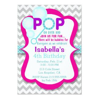 Birthday Bubble Pop Pink & Purple Party Invitation