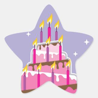 Birthday Cake 10 Candles Star Sticker