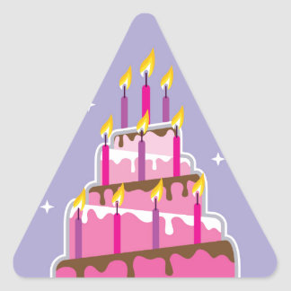Birthday Cake 10 Candles Triangle Sticker