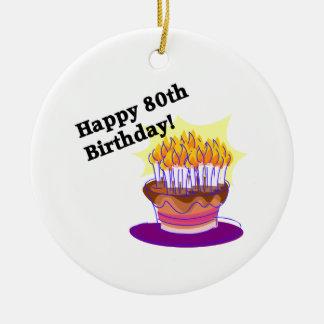 Birthday Cake 80th Round Ceramic Ornament