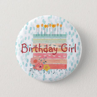Birthday Cake Birthday Girl Teal and Coral Button