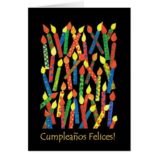 Birthday Cake Candles Card, Spanish Greeting