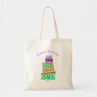 Birthday Cake Canvas Bag (With Happy Birthday)