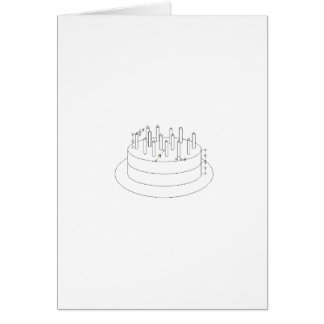 Birthday Cake - Drafted Architectural Style Card