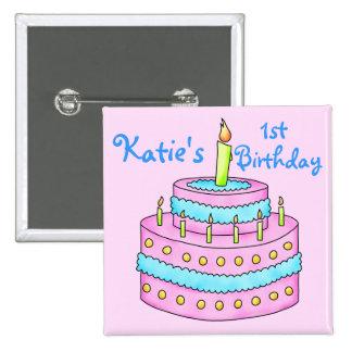 Birthday Cake First Birthday Button Badge