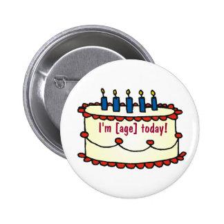 Birthday Cake, I'm [age] today! 2 Inch Round Button