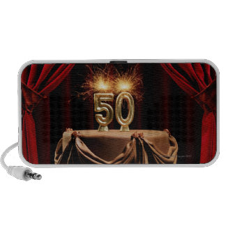 BIrthday Cake on Stage with number 50 candles Travelling Speakers