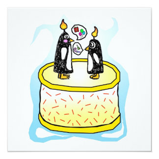 Birthday Cake Penguin Invitations