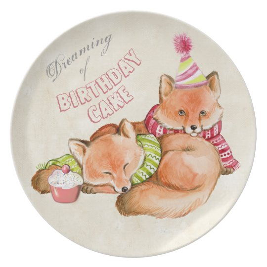 BIRTHDAY CAKE PLATE - ADORABLE FOXES, CUTE ANIMALS