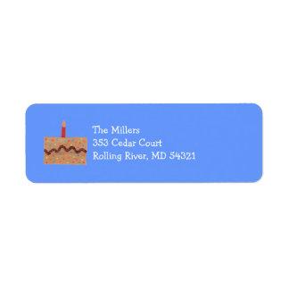 Birthday cake return address label -- blue